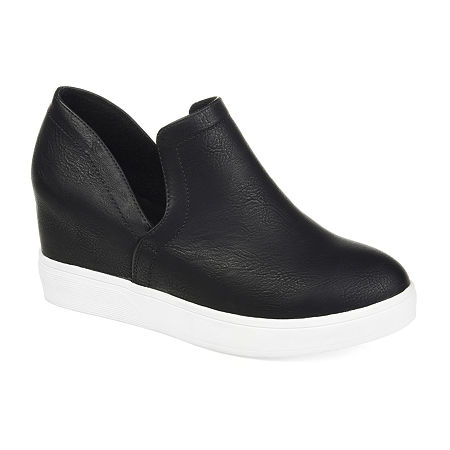 Journee Collections Womens Cardi Sneaker Wedge, 8 Medium, Black