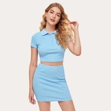 Half Placket Rib-knit Polo Top & Solid Bodycon Skirt Set