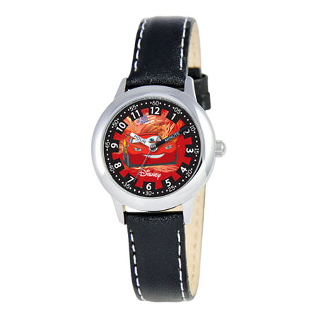 Disney Cars Kids Time Teacher Leather Strap Watch, One Size , No Color Family