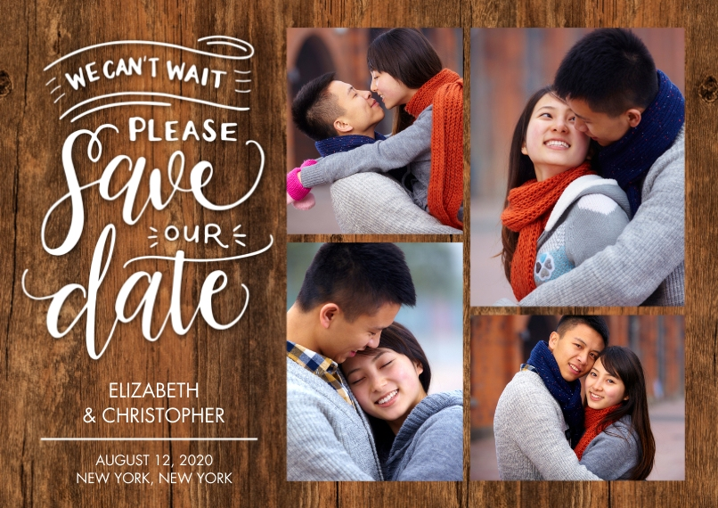 Save the Date 5x7 Cards, Standard Cardstock 85lb, Card & Stationery -Save the Date Cant Wait