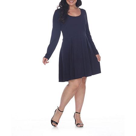 White Mark-Plus Long Sleeve Fit & Flare Dress, 3x , Blue
