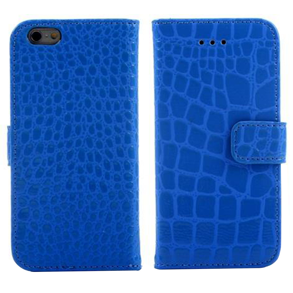 A04 Crocodile Pattern Faux Leather Flip Case With Mount Stand & Card Slot - Dark Blue