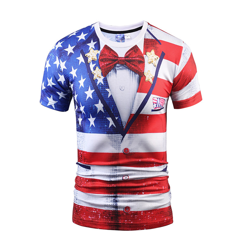 Short Sleeve Flag And Bow Tie Unisex Crewneck 3D Pattern T-Shirt