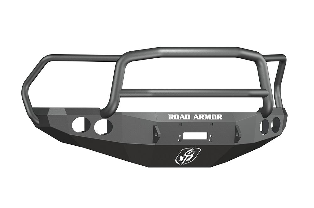 DODGE Front Winch Bumper Round Light Ports 2500,3500,4500,5500 RAM 10-15 BLACK Lonestar Guard Road Armor 40805B Stealth Series