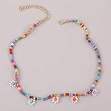 Flower Charm Beaded Necklace