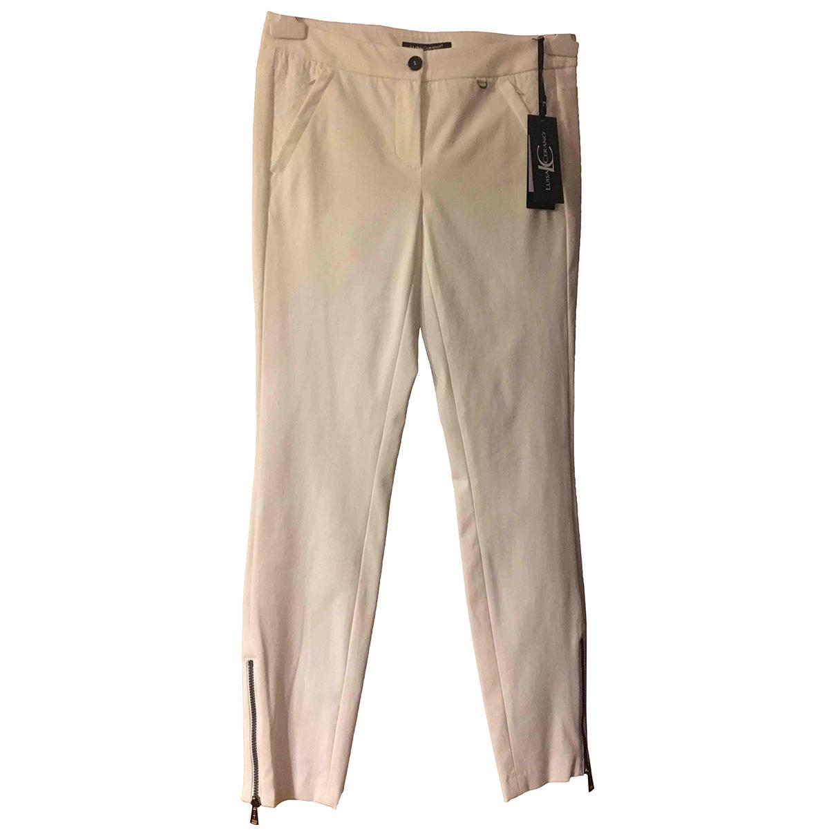 Luisa Cerano \N White Cotton Trousers for Women 38 FR