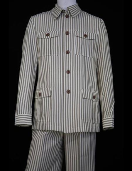Mens Safari Style Victorian Seersucker Long Sleeve Walking Suit Set