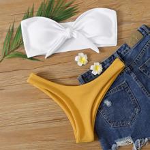 Rib Knot Front Bandeau High Cut Bikini Swimsuit