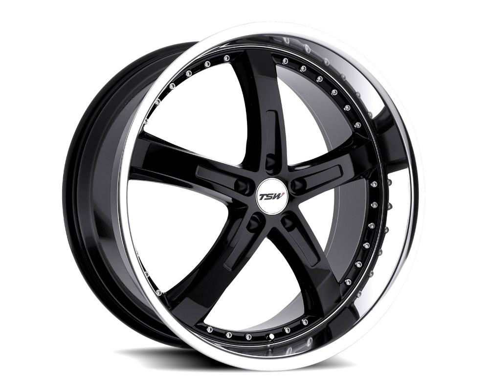 TSW Jarama Wheel 17x8 5x120 20mm Gloss Black w/ Mirror Cut Lip