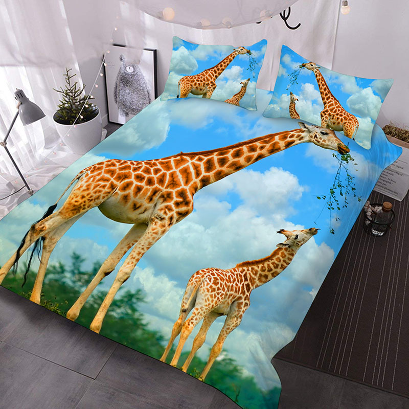 Giraffe Mother And Calf Under The Blue Sky Printed 3-Piece Comforter Sets
