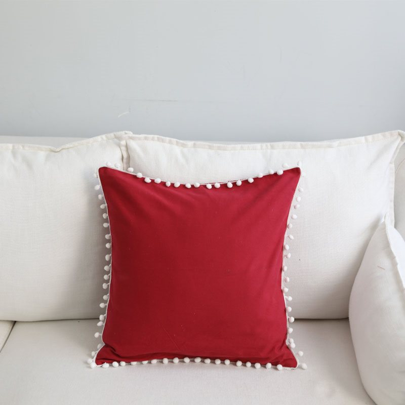 Solid Color Square Decorated Tassels Cotton Pillowcase 5 Colors Optional