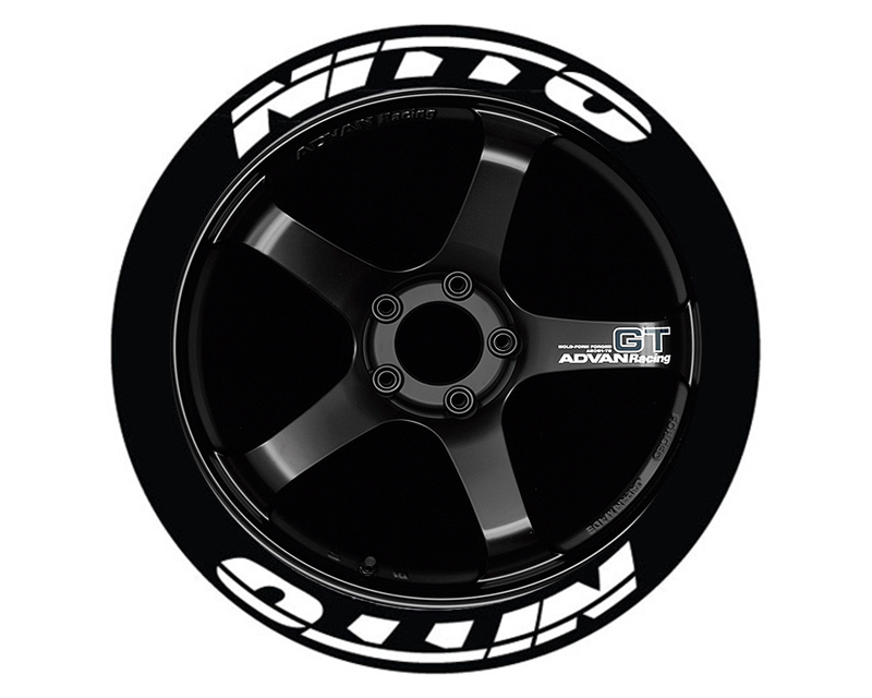 Tire Stickers NIT555-1718-125-4-Y Permanent Raised Rubber Lettering 'Nitto NT555' - 4 Of Each - 17