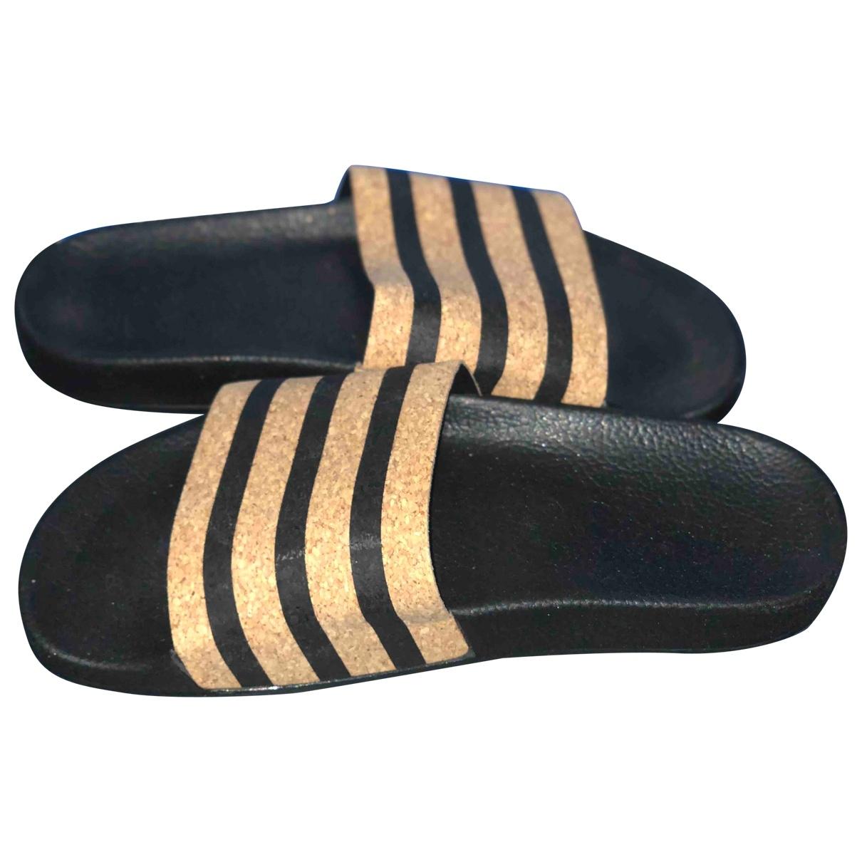 Adidas Adilette  Black Leather Sandals for Women 39 EU