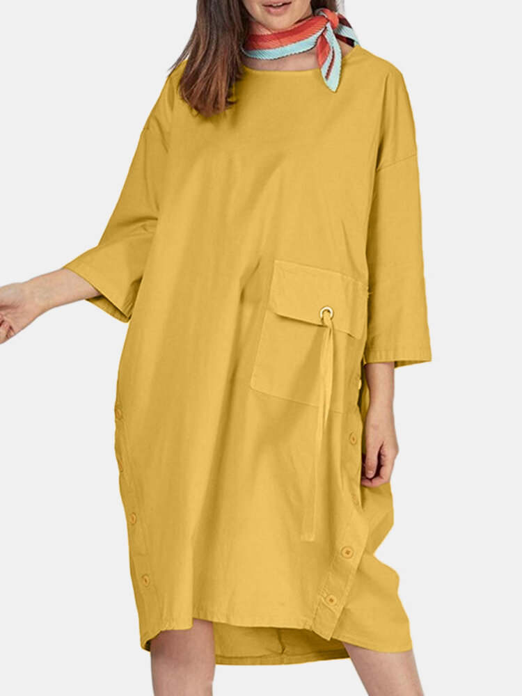 Solid Color O-neck 3/4 Sleeves Loose Dress With Pockets