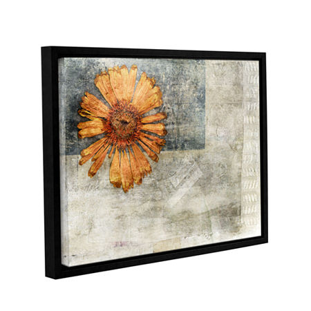 Brushstone Dried Flower Abstract Gallery Wrapped Floater-Framed Canvas Wall Art, One Size , Orange