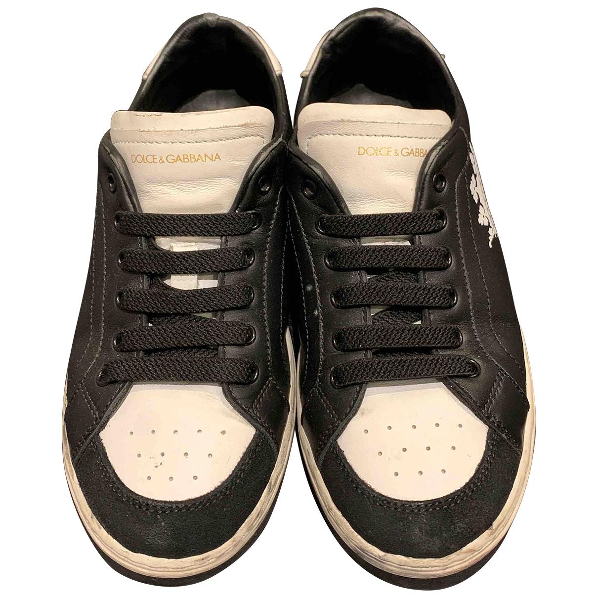 Dolce & Gabbana \N Black Leather Trainers for Kids 32 EU