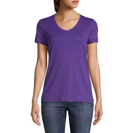 St. John's Bay-Womens V Neck Short Sleeve T-Shirt, Medium , Purple