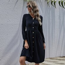 Button Front Shirred Back Dress