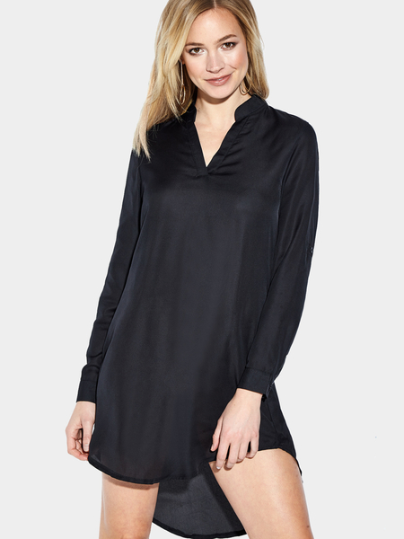Yoins Black Casual See-through Chiffon V-neck Curved Mini Dress