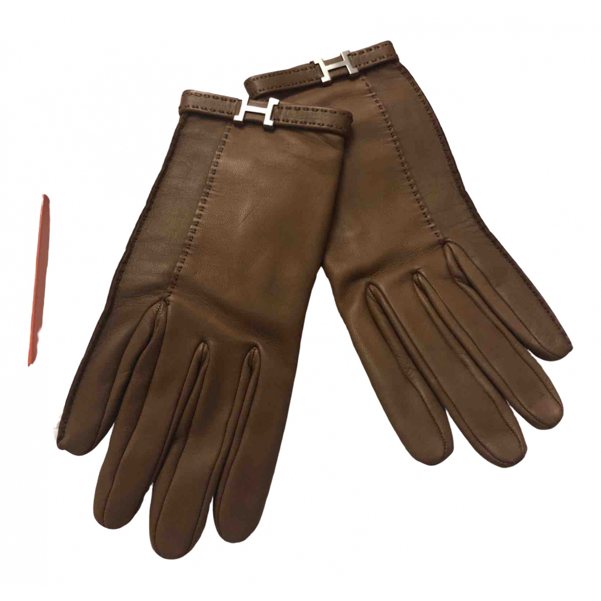 Hermès \N Camel Leather Gloves for Women 6.5 Inches