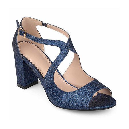 Journee Collection Womens Aalie Pumps Block Heel, 7 Medium, Blue