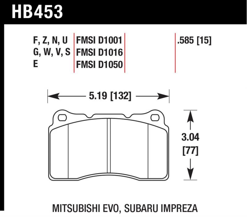 Hawk Performance HB453EE.585 Disc Brake Pad Front