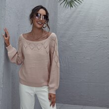 Scoop Neck Pointelle Knit Sweater