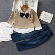 Toddler Boys 2 In 1 Embroidery Bow Front Tee & Jeans