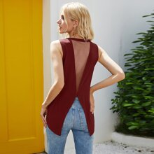 Mesh Panel Split Back Tank Top