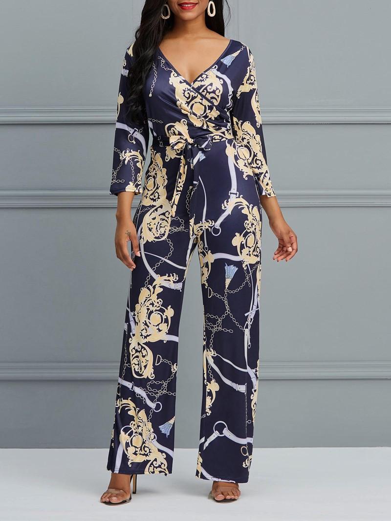 Ericdress Floral V-Neck Print Wide Legs Women's Jumpsuit
