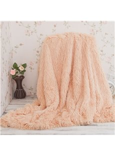 Solid Beige Long Shaggy Chic Fuzzy Faux Fur Throw Blankets