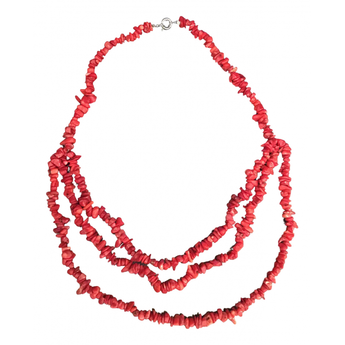 Non Signé / Unsigned \N Red Pearls Long necklace for Women \N
