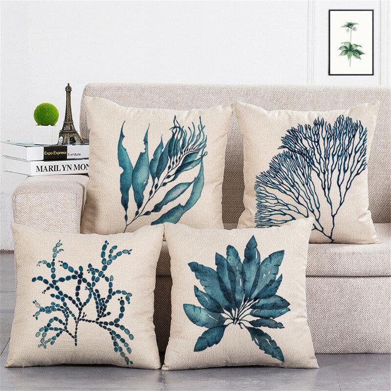 Blue Leaves Pattern Square Cotton Linen Cushion Cover Home Sofa Car Decorative Pillow Cases
