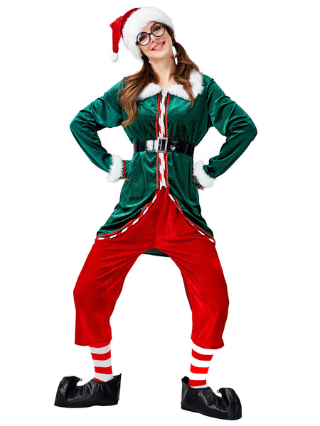 Milanoo Christmas Costume Set Green Christmas Elf 6 Piece Holidays Costumes