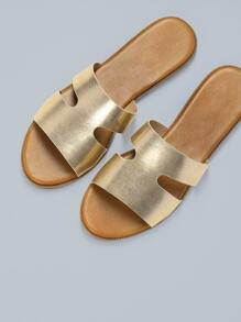 Double Band Cut Out Slide Sandals