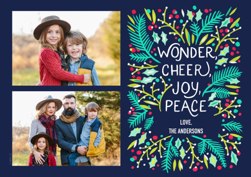 Christmas Photo Cards Flat Glossy Photo Paper Cards with Envelopes, 5x7, Card & Stationery -Mistletoe Wonder, Cheer, Joy, Peace by Hallmark