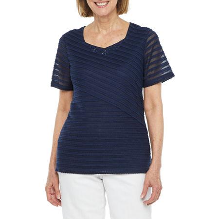 Alfred Dunner Classics-Womens Sweetheart Neck Short Sleeve T-Shirt, Medium , Blue
