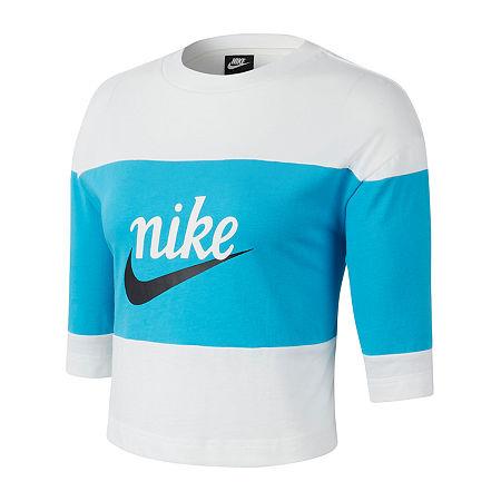 Nike Womens Crew Neck Short Sleeve Crop Top, X-large , Blue