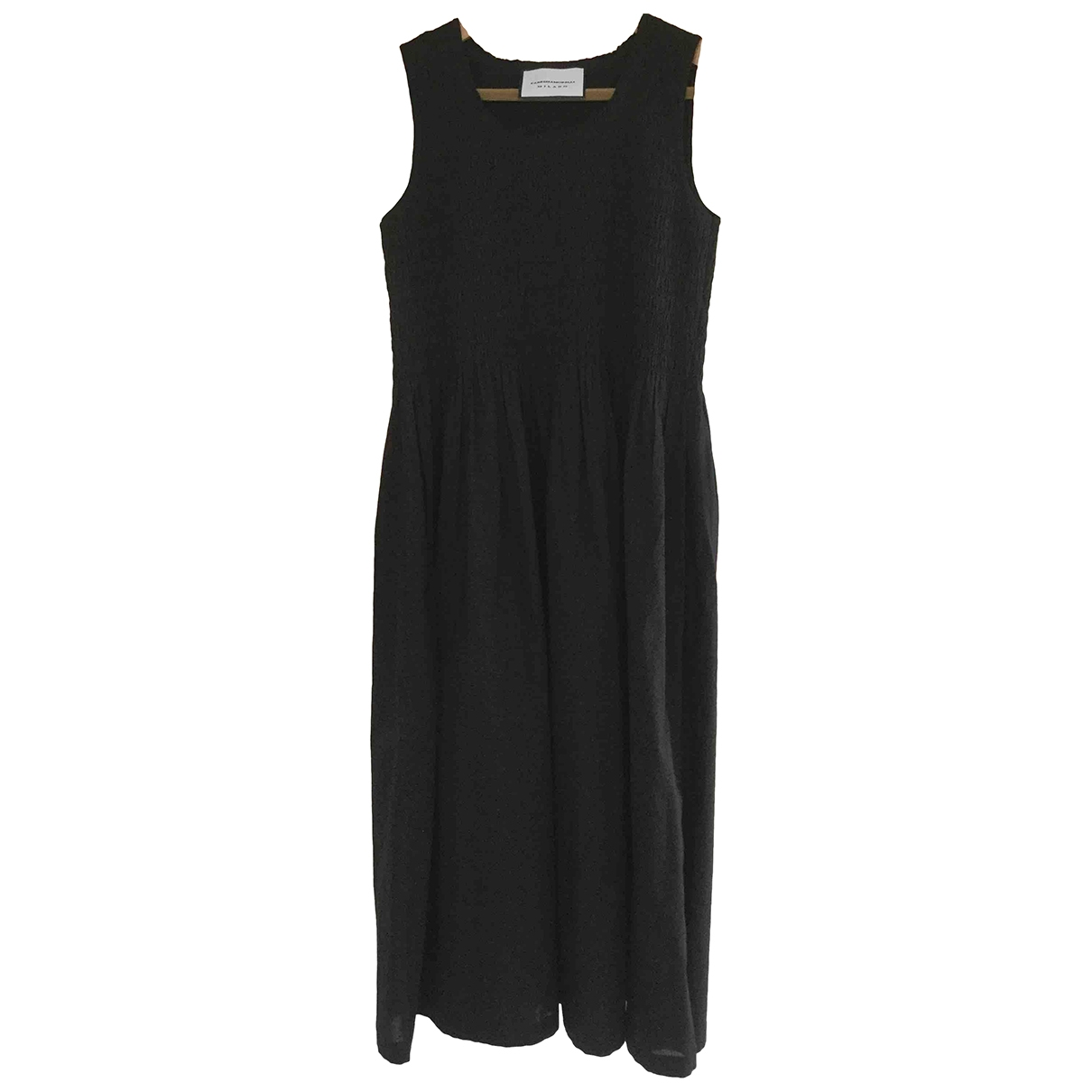 Non Signé / Unsigned Hippie Chic Black Cotton dress for Women One Size International