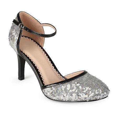 Journee Collection Womens Alison Pumps Spike Heel, 10 Medium, Silver
