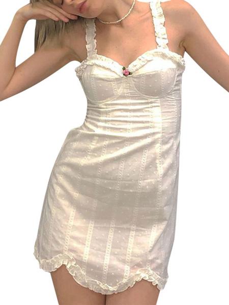 Milanoo White Bodycon Dresses Sexy Straps Neck Short Dress For Women