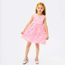 Toddler Girls Floral Applique Mesh Bow Back Party Dress