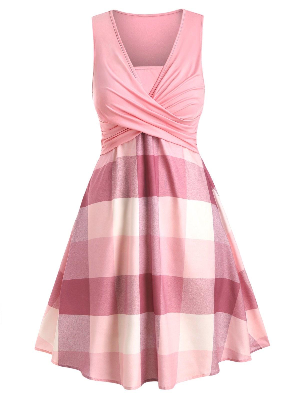 Plus Size Plaid Crossover Dress