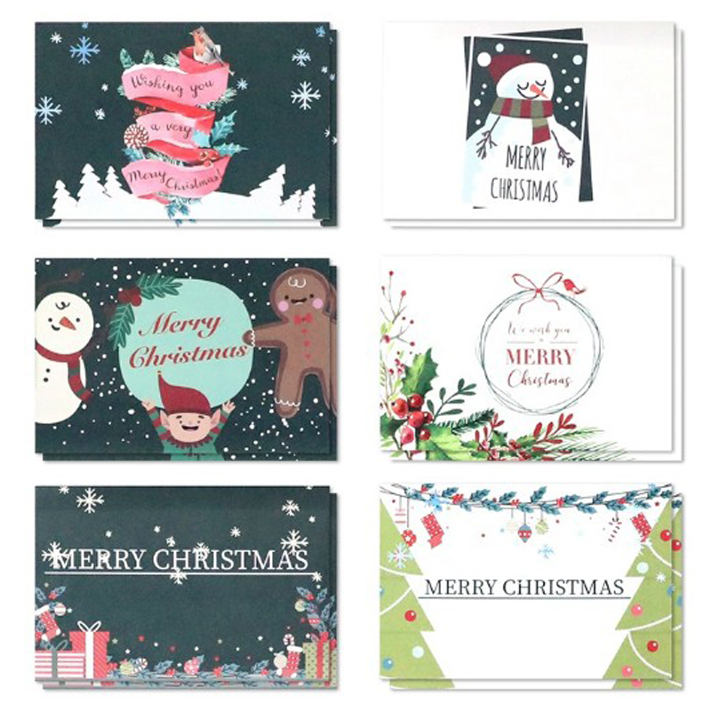 Beautifully Patterned Christmas Flat Folding Card Set of 6