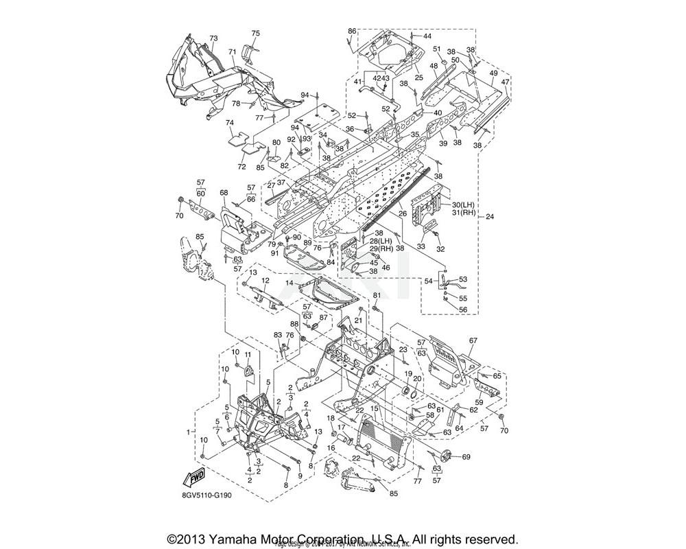 Yamaha OEM 8FT-21954-00-00 BRACKET, RR. TRACK SUSPENSI