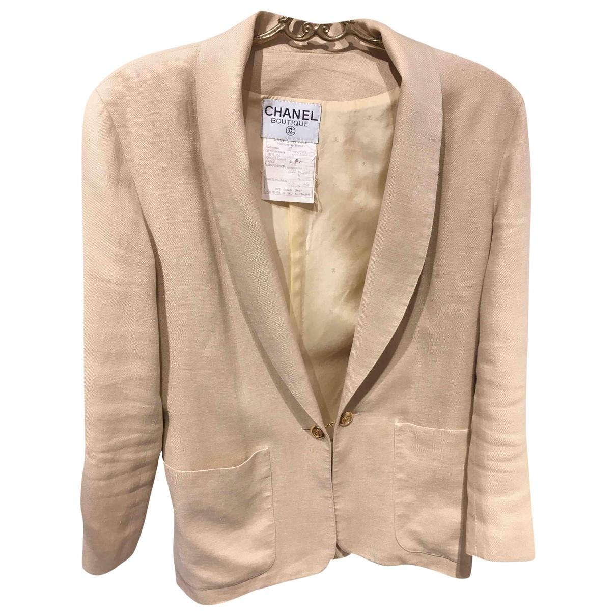 Chanel \N Beige Linen jacket for Women 40 FR