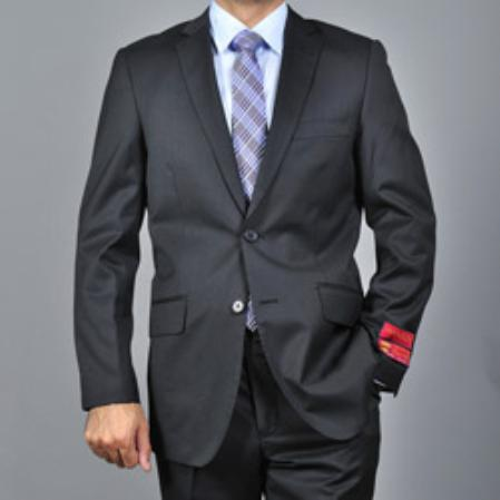 Mens Slimfit Black Textured Wool 2button Suit