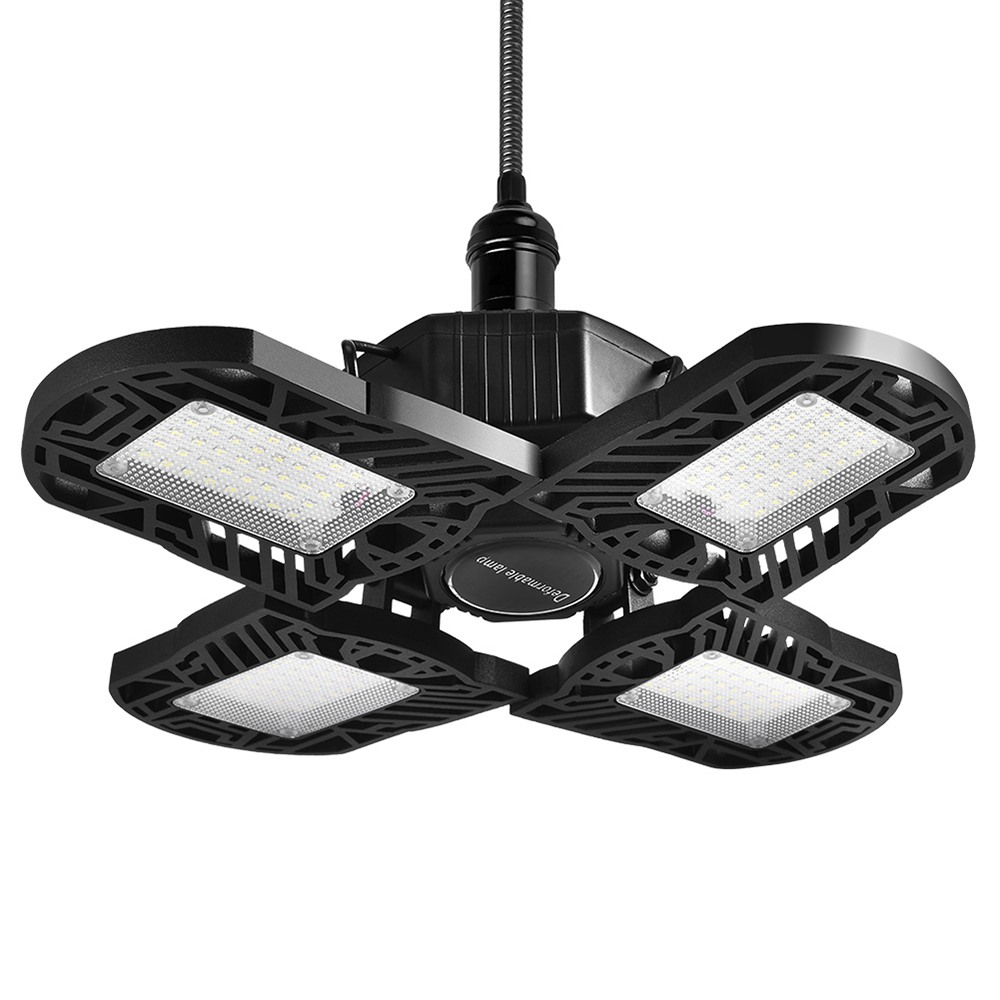 LED Garage Light 120W Four-Leaf Ceiling Light with Adjustable Aluminum Panels 12000Lm 6500K Deformable Nature Shop Lig - Black
