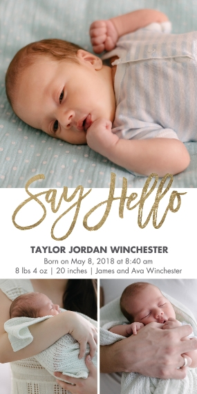 Baby Boy Announcements Flat Glossy Photo Paper Cards with Envelopes, 4x8, Card & Stationery -Baby Gold Say Hello