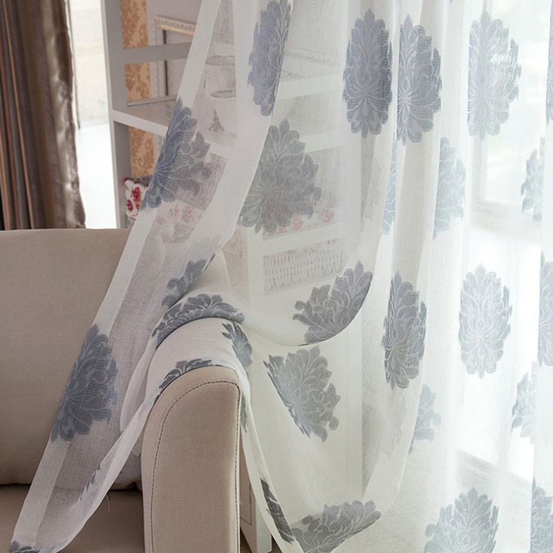 Linen Semi-Voile 2-Pieces Jacquard Grommet Top Sheer Curtain